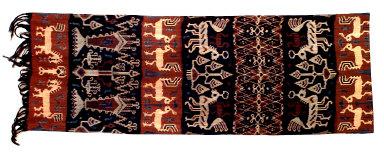 Textile, hinggi, funeral shroud or man's ceremonial wrap. Indonesia