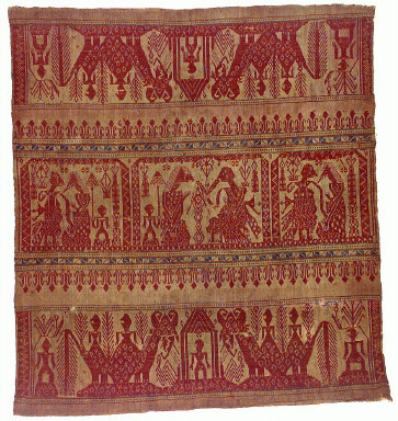 Textile with human and animal figures. Indonesia