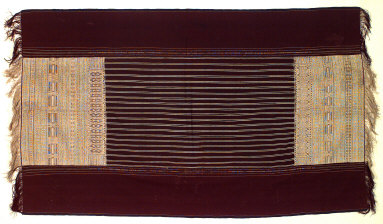 Textile, ulos ragidup, ceremonial gift or funeral shroud. Indonesia