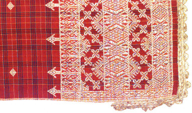 Textile, salendang, shawl, sash, or shoulder cloth. Indonesia