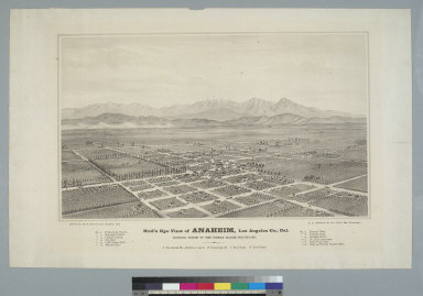 Bird's-eye view of Anaheim, Los Angeles Co[unty], Cal[ifornia]: looking north to the Sierra Madre Mountains