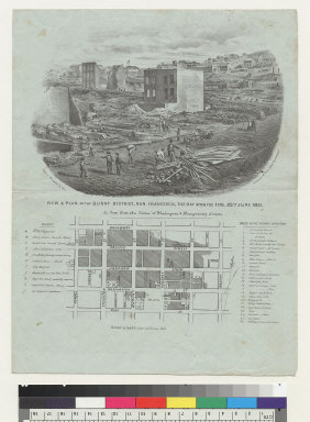 View and plan of burnt district, San Francisco [California], the day after the fire, 22nd June, 1851