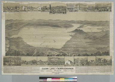 Bird's-eye view of Clear Lake and surroundings, Lake Co[unty] Cal[ifornia]