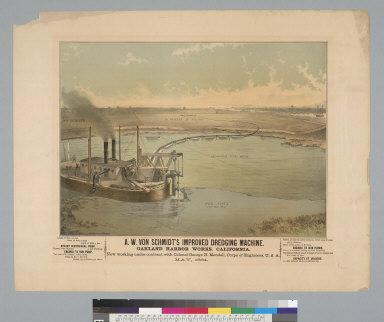 A. W. Von Schmidt's improved dredging machine, Oakland Harbor Works, California