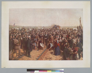 [Ceremony to drive the golden spike at Promontory Point, Utah, 1869]
