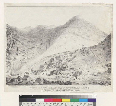 View of Goodyears Bar & Goodyears Creek, Sierra C[ounty] Cal[iforni]a, with Monte-Cristo in the distance