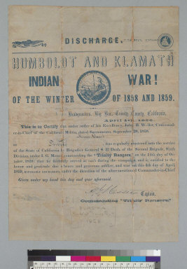 Discharge: Humboldt and Klamath Indian War of the winter of 1858 and 1859