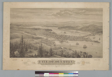 Bird's-eye view of the city of Olympia, East Olympia, and Tumwater, Puget Sound, Washington Territory, 1879