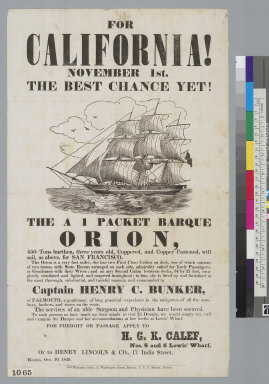 """For California!... The A 1 packet barque """"Orion"""" [advertisement]"""