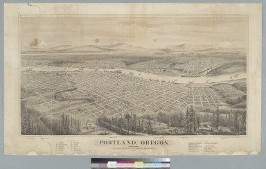 Portland, Oregon, population 22,000: looking east to the Cascade Mountains