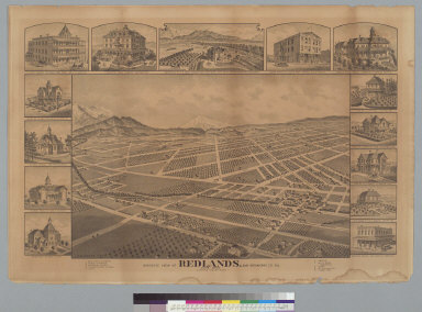 Bird's-eye view of Redlands, San Bernardino Co[unty], Cal[ifornia], June 1888, looking southeast