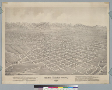 Bird's-eye view of Salt Lake City, from the north looking southeast, Utah, 1875