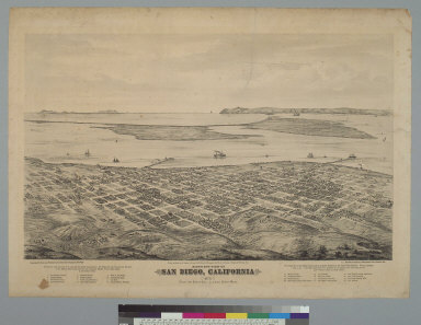 Bird's-eye view of San Diego, California, 1876 from the northeast, looking southwest