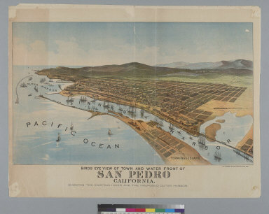 Bird's-eye view of town and waterfront of San Pedro, California: showing the existing inner and the proposed outer harbor