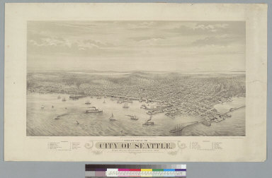 Bird's-eye view of the city of Seattle, Puget Sound, Washington Territory, 1878