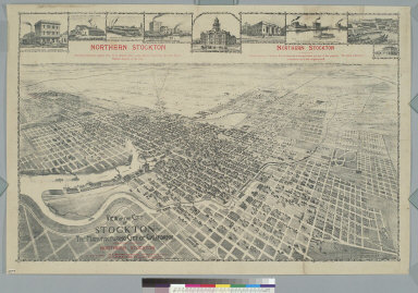 View of the city of Stockton, the manufacturing city of California