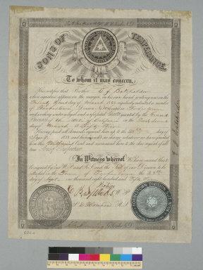 Sons of Temperance [certificate]