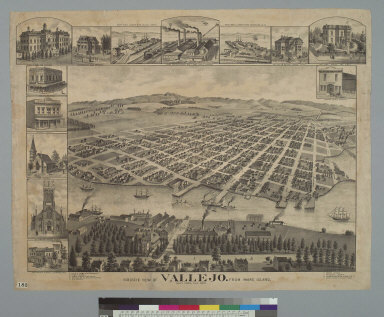 Bird's-eye view of Vallejo, from Mare Island, Navy Yard, Cal[ifornia] 1891