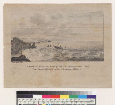 The wreck of the Yankee Blade, as she apeared [sic] on the evening of October 1st, 1854