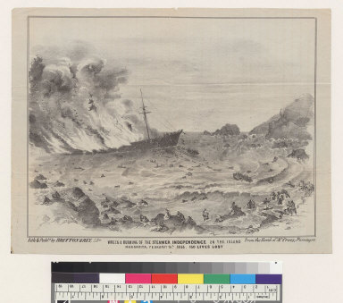 """Wreck and burning of the steamer """"Independence"""" on the Island Margarita [Venezuela] February 16th, 1853, 150 lives lost"""