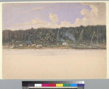 [A Northwest Boundary Commissioner's camp at Semiahmoo Bay, Washington Territory?]