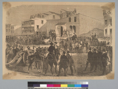 Great excitement in San Francisco [California], front of the jail, the Vigilance Committee taking possession of Cora and Casey