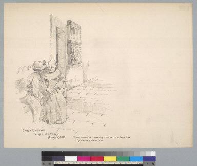[Confession scene at Santa Barbara Mission, California]