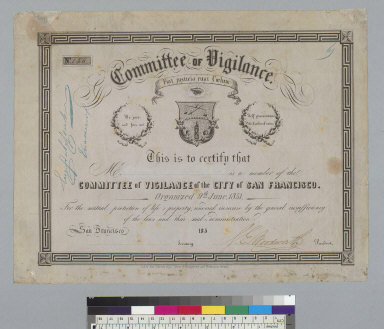 [Certificate of] Committee of Vigilance of the city of San Francisco [California]