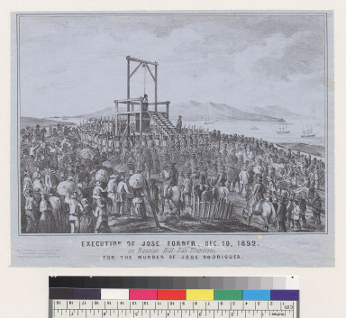 Execution of Jose Forner, Dec[ember] 10, 1852, on Russian Hill, San Francisco [California] for the murder of Jose Rodrigues