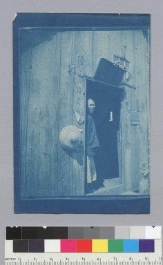 Merchant standing in doorway, Chinese fishing village, Monterey. [photographic print]