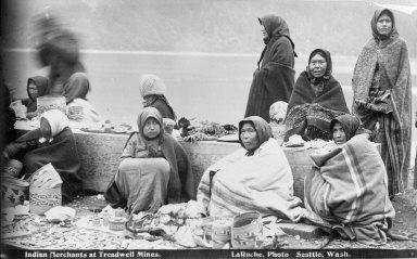 """Indian merchants at Treadwell Mines,"" Alaska. [negative]"