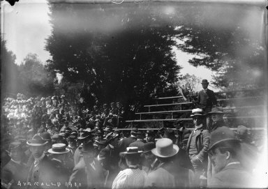 """Axe rally, 1900,"" view of bleachers, University of California at Berkeley. [negative]"