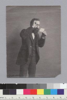 """Albert Putzker, German Dept., U.C., 1900,"" (appears to be a student impersonating Putzker), University of California at Berkeley. [photographic print]"