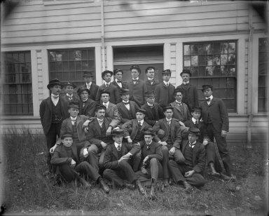 Group portrait of mining class, University of California at Berkeley. [negative]
