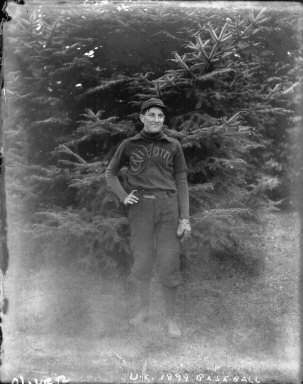 "Baseball player, ""Mein, Wm., right fielder, U.C. 1899,"" University of California at Berkeley. [negative]"