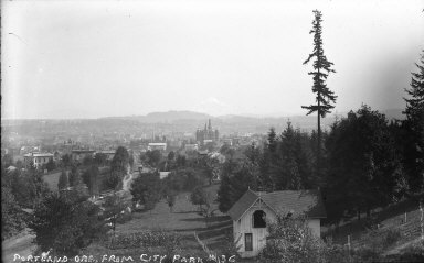"""""""Portland, Ore., from City Park,"""" Mount Hood in distance. [negative]"""