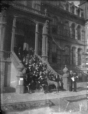 Cadets on the steps of North Hall [negative]