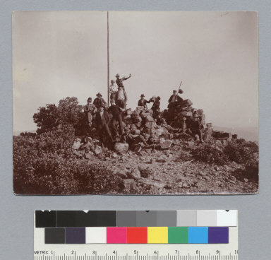 """""""On the summit of Mt. St. Helena, June 5th, 1898, view (L1),"""" University of California at Berkeley, Summer School of Surveying. [photographic print]"""