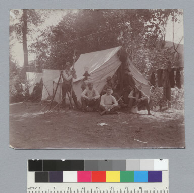 Group of men in front of tent, University of California at Berkeley, Summer School of Surveying, University of California at Berkeley, Summer School of Surveying. [photographic print]