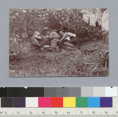 """""""The noon hour, view (e), 1898."""" Oliver, Parker, and Hicks resting, University of California at Berkeley, Summer School of Surveying. [photographic print]"""