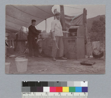 """""""Our worthy chef, view (i), 1898,"""" University of California at Berkeley, Summer School of Surveying. [photographic print]"""