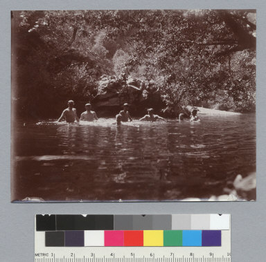Men taking a dip in the swimming hole, view P1, University of California at Berkeley, Summer School of Surveying. [photographic print]