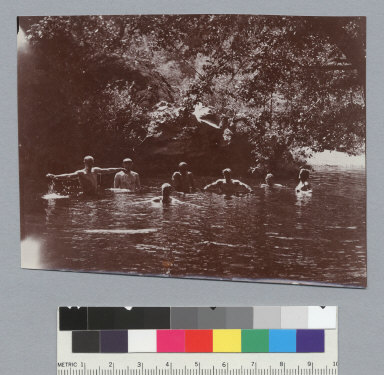 Men taking a dip in the swimming hole, view O1, University of California at Berkeley, Summer School of Surveying. [photographic print]