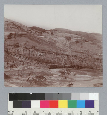 Panorama #5, view of trestle and railroad, Tesla Coal Mines, California. [photographic print]