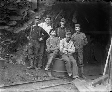 Group of miners inside of mine. [negative]