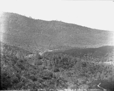 General view of Malvina Mine and mill from dump of Mary Harrison Mine, Mariposa County, California. [transparency]