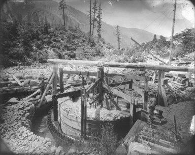 Arrastra, Sierra Buttes Mine, California. [transparency]