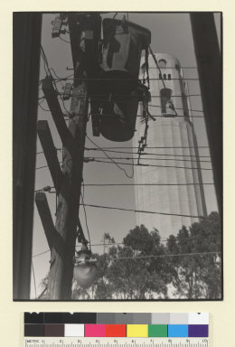 Telephone line men near Coit Tower. [San Francisco.] [photographic print]