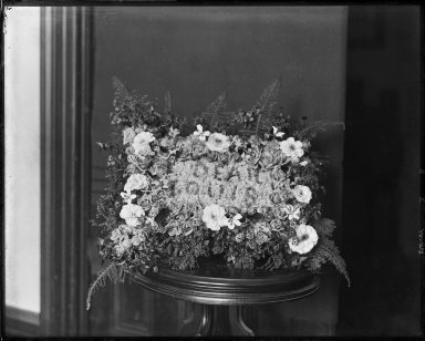 Floral arrangement on stand, by or for Louis France. [negative]
