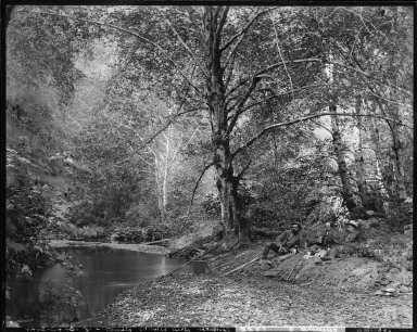 Charles G. Yale and friends fishing, South Fork Ten Mile River, Mendocino, California. [negative]